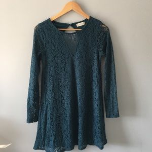 Dresses & Skirts - altar'd state Teal Lace Mini Long Sleeve Dress Sm